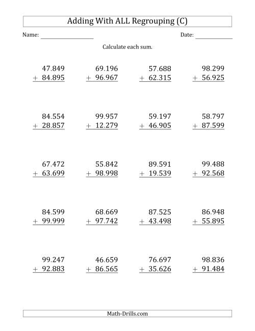 The 5-Digit Plus 5-Digit Addtion with ALL Regrouping and Period-Separated Thousands (C) Math Worksheet