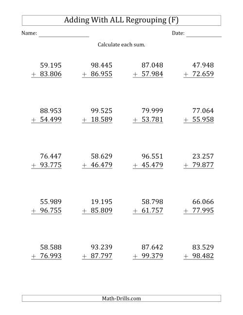 The 5-Digit Plus 5-Digit Addtion with ALL Regrouping and Period-Separated Thousands (F) Math Worksheet