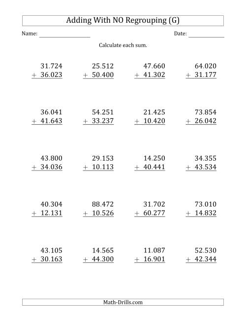 The 5-Digit Plus 5-Digit Addition with NO Regrouping and Period-Separated Thousands (G) Math Worksheet