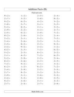 Single Digit Addition -- 100 Horizontal Questions -- Adding Twos (B)