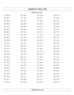 Single Digit Addition -- 100 Horizontal Questions -- Adding Twos (D)