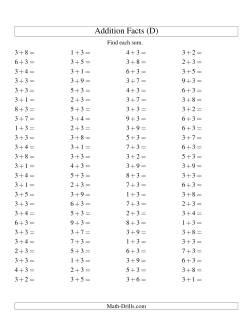 Single Digit Addition -- 100 Horizontal Questions -- Adding Threes (D)