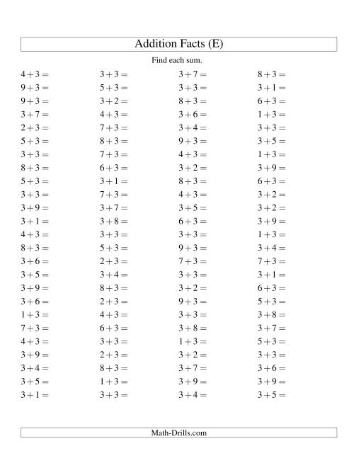The Single Digit Addition -- 100 Horizontal Questions -- Adding Threes (E) Addition Worksheet