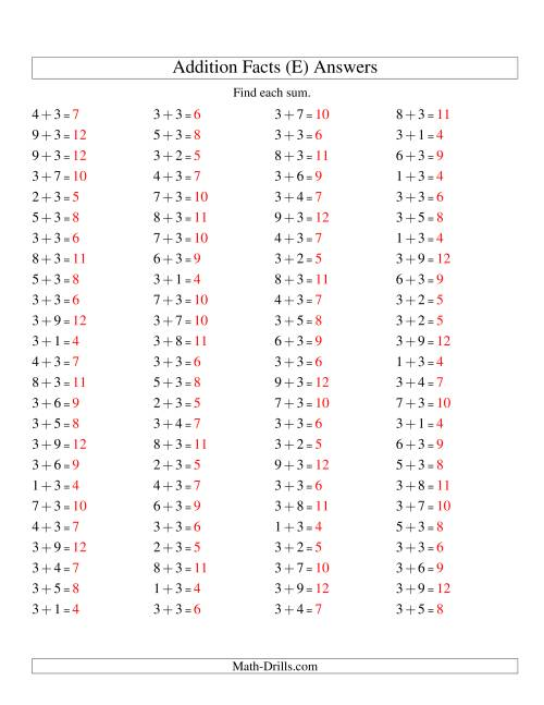The Single Digit Addition -- 100 Horizontal Questions -- Adding Threes (E) Math Worksheet Page 2