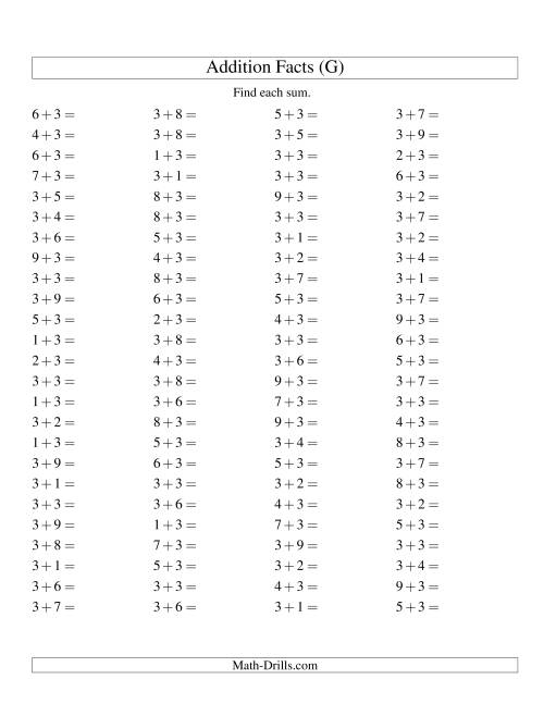 The Single Digit Addition -- 100 Horizontal Questions -- Adding Threes (G) Addition Worksheet