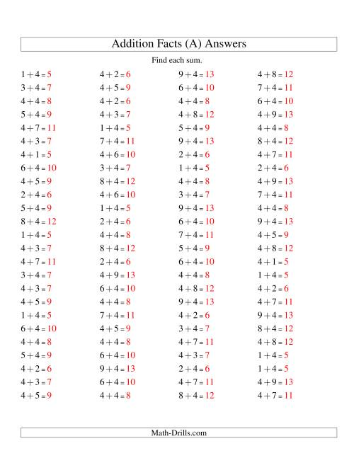 The Single Digit Addition -- 100 Horizontal Questions -- Adding Fours (A) Math Worksheet Page 2