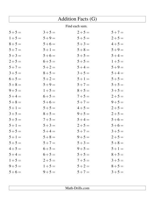 The Single Digit Addition -- 100 Horizontal Questions -- Adding Fives (G) Addition Worksheet