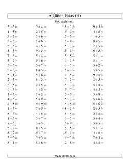 Single Digit Addition -- 100 Horizontal Questions -- Adding Fives (H)