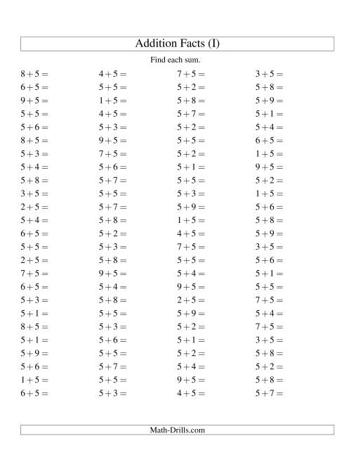 The Single Digit Addition -- 100 Horizontal Questions -- Adding Fives (I) Addition Worksheet