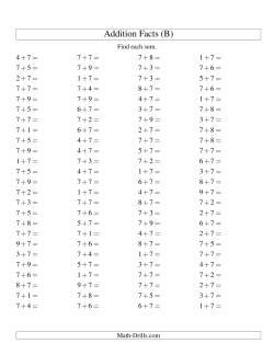 Single Digit Addition -- 100 Horizontal Questions -- Adding Sevens (B)