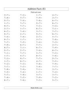 Single Digit Addition -- 100 Horizontal Questions -- Adding Sevens (E)
