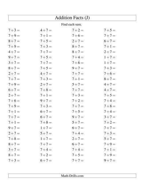 The Single Digit Addition -- 100 Horizontal Questions -- Adding Sevens (J) Addition Worksheet