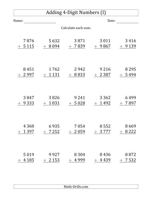 The 4-Digit Plus 4-Digit Addition with SOME Regrouping and Space-Separated Thousands (I) Math Worksheet