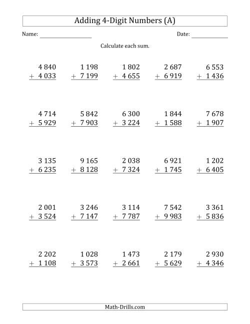 The 4-Digit Plus 4-Digit Addition with SOME Regrouping and Space-Separated Thousands (All) Math Worksheet