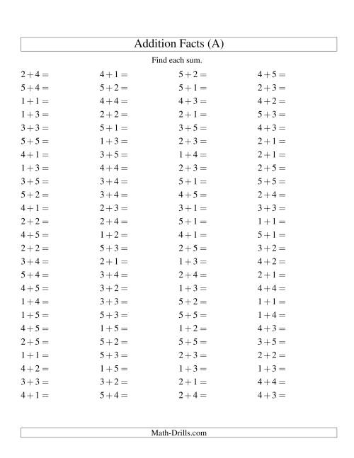 The Single Digit Addition -- 100 Horizontal Questions -- Up to 5 + 5 (A) Math Worksheet