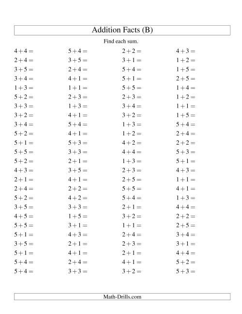 The Single Digit Addition -- 100 Horizontal Questions -- Up to 5 + 5 (B) Addition Worksheet