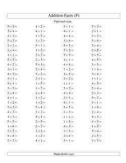 Single Digit Addition -- 100 Horizontal Questions -- Up to 5 + 5 (F)