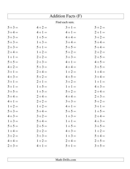 The Single Digit Addition -- 100 Horizontal Questions -- Up to 5 + 5 (F) Addition Worksheet