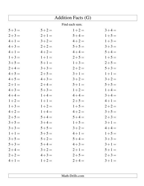 The Single Digit Addition -- 100 Horizontal Questions -- Up to 5 + 5 (G) Addition Worksheet