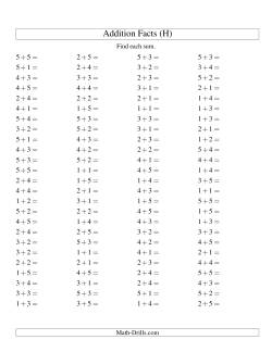 Single Digit Addition -- 100 Horizontal Questions -- Up to 5 + 5 (H)