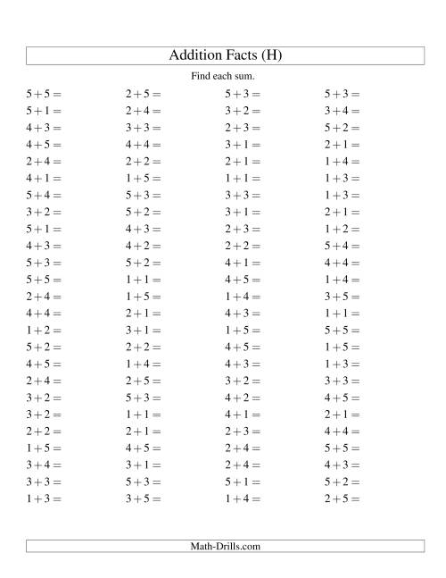 The Single Digit Addition -- 100 Horizontal Questions -- Up to 5 + 5 (H) Addition Worksheet
