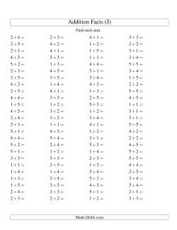 Single Digit Addition -- 100 Horizontal Questions -- Up to 5 + 5 (J)