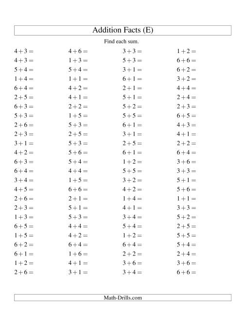 The Single Digit Addition -- 100 Horizontal Questions -- Up to 6 + 6 (E) Addition Worksheet
