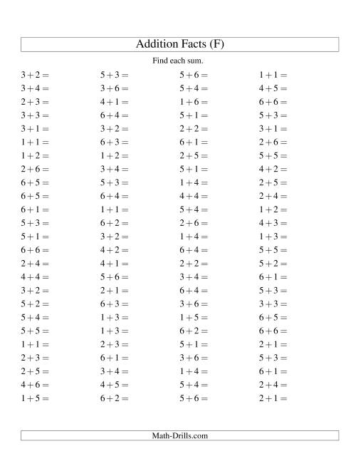 The Single Digit Addition -- 100 Horizontal Questions -- Up to 6 + 6 (F) Addition Worksheet