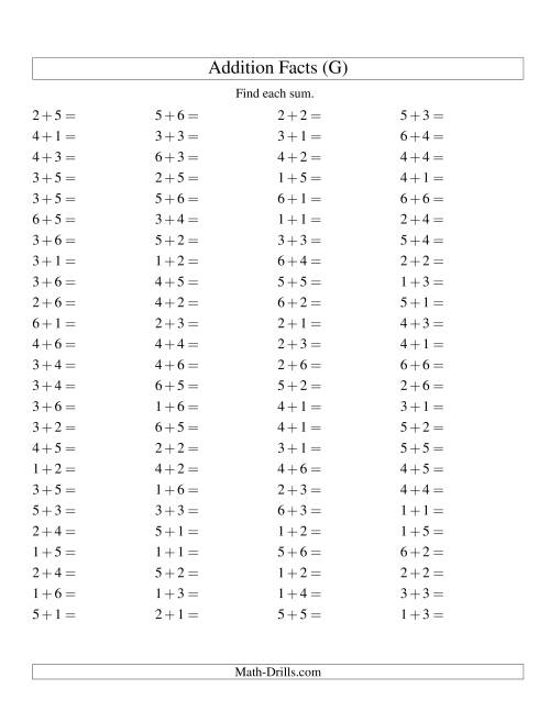 The Single Digit Addition -- 100 Horizontal Questions -- Up to 6 + 6 (G) Addition Worksheet