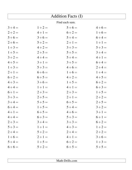 The Single Digit Addition -- 100 Horizontal Questions -- Up to 6 + 6 (I) Addition Worksheet