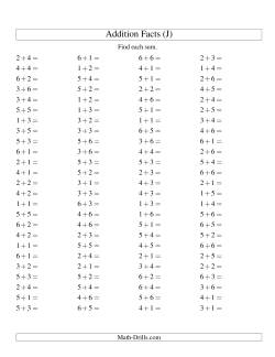 Single Digit Addition -- 100 Horizontal Questions -- Up to 6 + 6 (J)