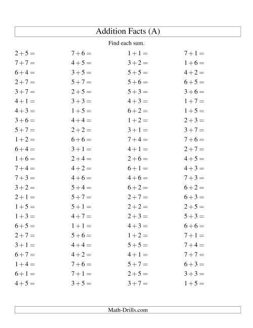 The Single Digit Addition -- 100 Horizontal Questions -- Up to 7 + 7 (A) Math Worksheet