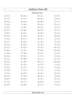 Single Digit Addition -- 100 Horizontal Questions -- Up to 7 + 7 (B)