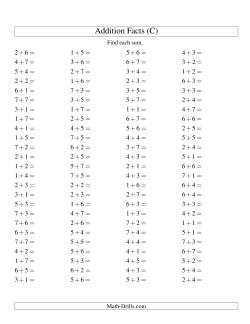 Single Digit Addition -- 100 Horizontal Questions -- Up to 7 + 7 (C)