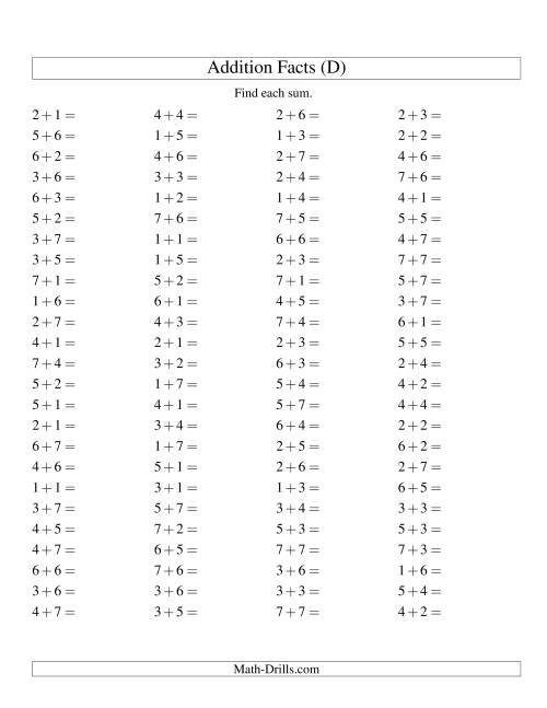 The Single Digit Addition -- 100 Horizontal Questions -- Up to 7 + 7 (D) Math Worksheet