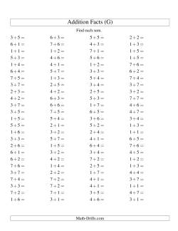 Single Digit Addition -- 100 Horizontal Questions -- Up to 7 + 7 (G)