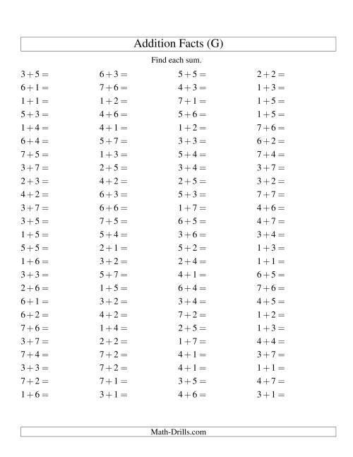 The Single Digit Addition -- 100 Horizontal Questions -- Up to 7 + 7 (G) Math Worksheet