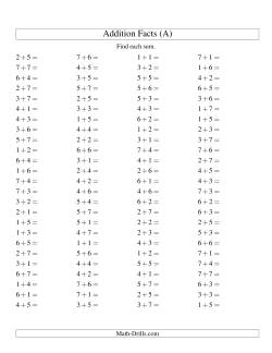 Single Digit Addition -- 100 Horizontal Questions -- Up to 7 + 7 (All)