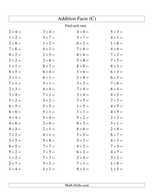 The Single Digit Addition -- 100 Horizontal Questions -- Up to 8 + 8 (C) Math Worksheet