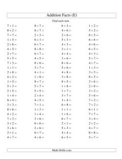 Single Digit Addition -- 100 Horizontal Questions -- Up to 8 + 8 (E)