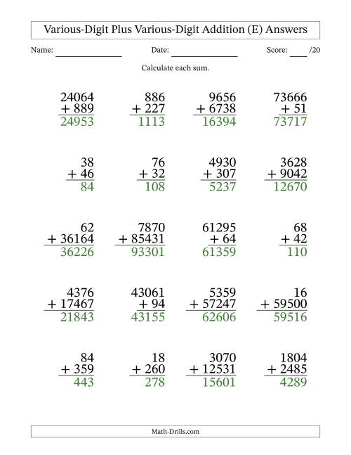 The Various Multi-Digit Addition from 2 to 5 Digits with SOME Regrouping (E) Math Worksheet Page 2