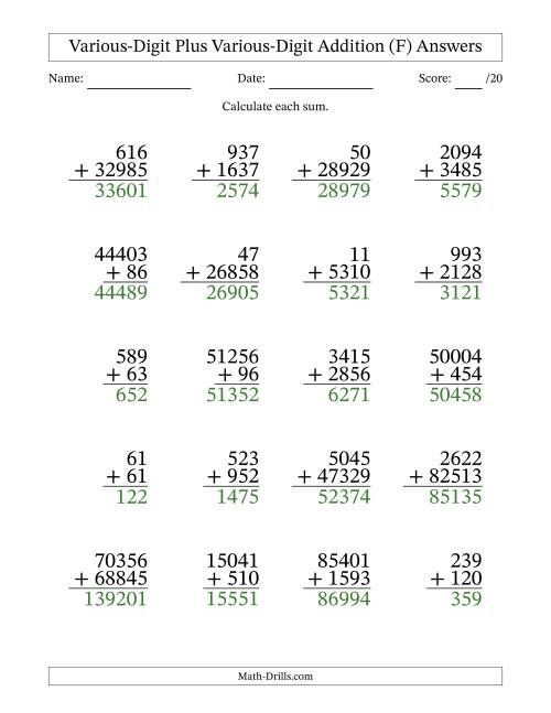 The Various Multi-Digit Addition from 2 to 5 Digits with SOME Regrouping (F) Math Worksheet Page 2
