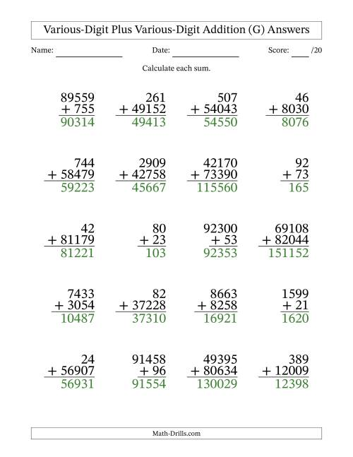 The Various Multi-Digit Addition from 2 to 5 Digits with SOME Regrouping (G) Math Worksheet Page 2