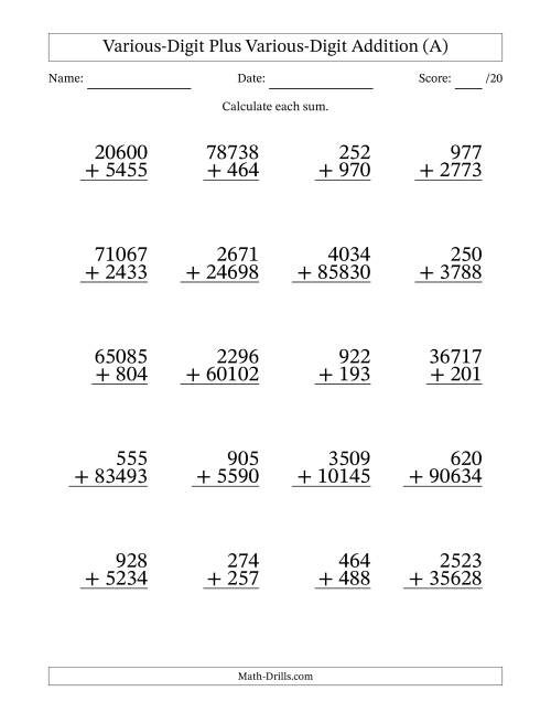 The 3- to 5-Digit Plus 3- to 5-Digit Addition With Some Regrouping (20 Questions) (All) Math Worksheet