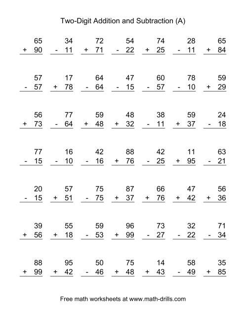 Two-Digit (A) Combined Addition and Subtraction WorksheetThe Two-Digit (A) Combined Addition and Subtraction Worksheet