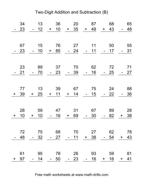 The Two-Digit (B) Combined Addition and Subtraction Worksheet