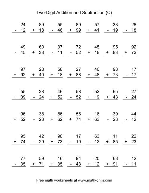 The Two-Digit (C) Combined Addition and Subtraction Worksheet