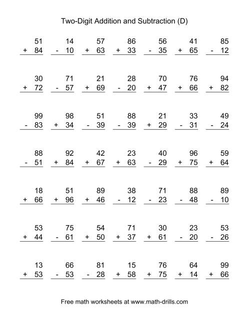 The Two-Digit (D) Combined Addition and Subtraction Worksheet