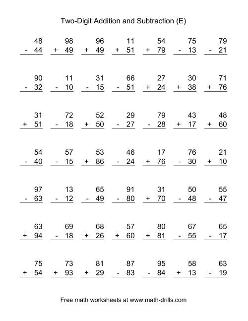 The Two-Digit (E) Combined Addition and Subtraction Worksheet