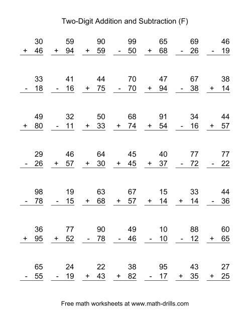 The Two-Digit (F) Combined Addition and Subtraction Worksheet
